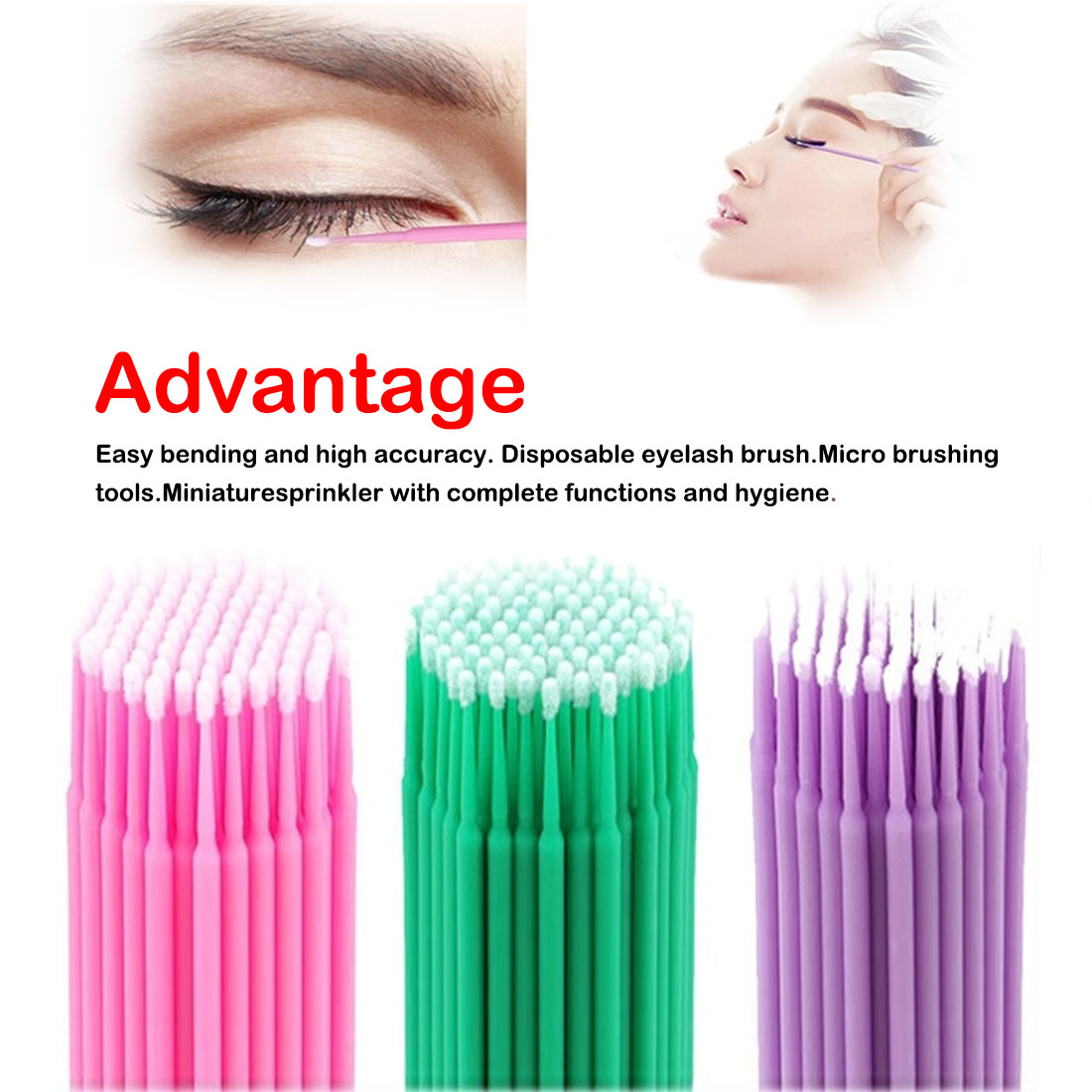 100Pcs/Bottle Durable Micro Disposable Micro Brush Individual Lash Removing Tools Swab Eyelash Extension Tools