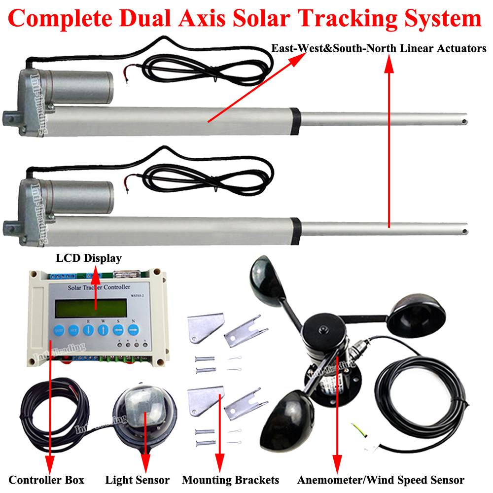 12v Dc Dual Axis Solar Tracking Tracker System 10 Linear Actuators Controller 57mm S Motor Lcd Light Sensor Anemometer In From Home