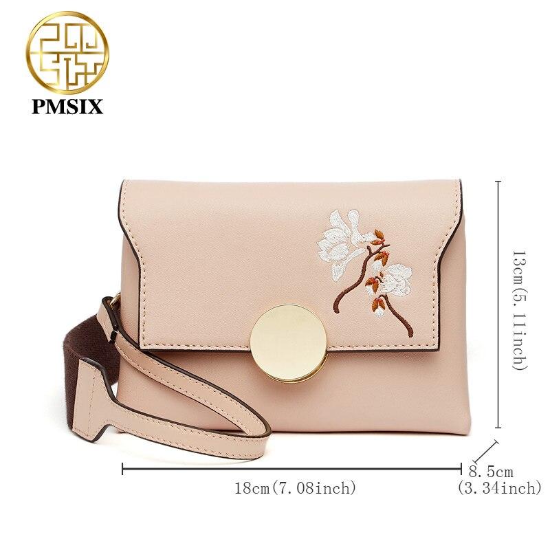 Pmsix znane marki modny haft kwiaty skóra Split Messenger torby dla kobiet wysokiej jakości szeroki pasek na ramię Femal torba w Torby z uchwytem od Bagaże i torby na  Grupa 2