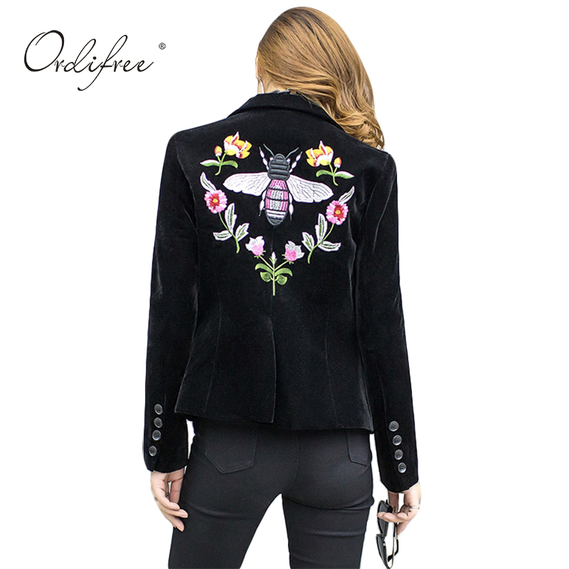 Ordifree 2017 Women Blazers and Jackets Slim Casual Coat Blazer Femme Single Button Black Floral Embroidery Velvet Blazer Women ...