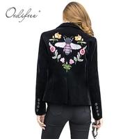 Ordifree 2017 Women Blazers and Jackets Slim Casual Coat Blazer Femme Single Button Black Floral Embroidery Velvet Blazer Women