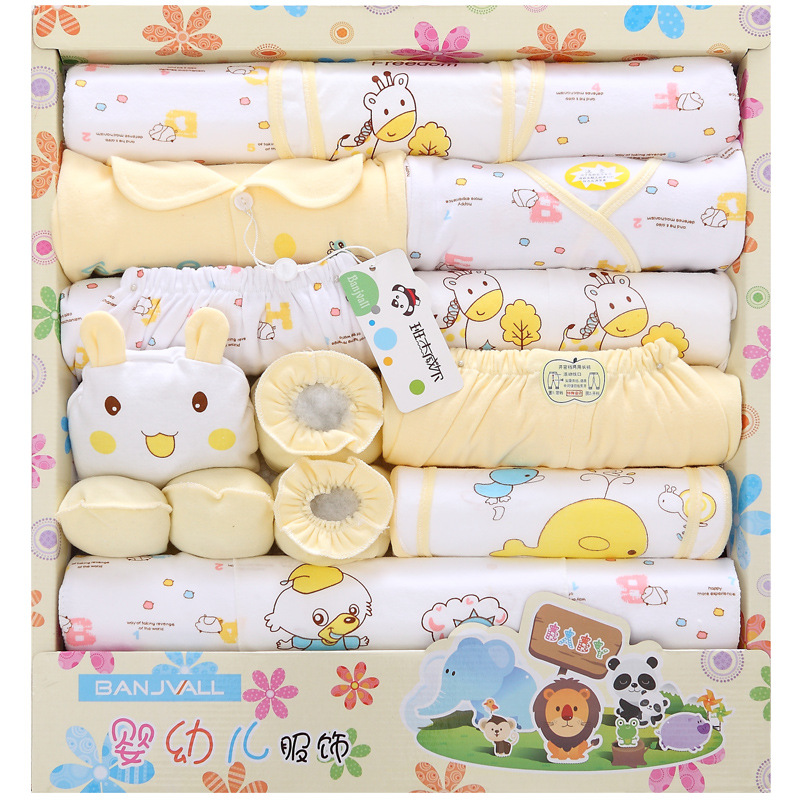 18 piece newborn baby set boy clothes 100% cotton infant suit baby girl clothes outfits pants baby clothing hat bib ropa de bebe cute newborn infant baby girl boy long sleeve top romper pants 3pcs suit outfits set clothes