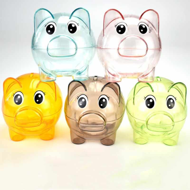 New Transparent Plastic Money Saving Box Case Coins Piggy Bank Cartoon Bear Shaped Home Decoration Children's Birthday Present
