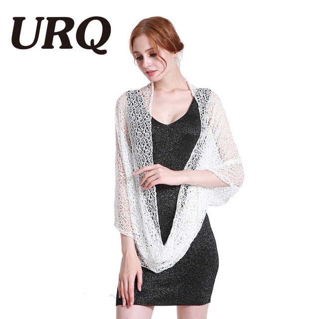 6b8a389cc4 70*160 Women Ring Scarves Handmade Wraps Hollow Out Short Mesh Shawl Cover  Up Lady