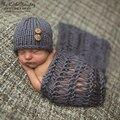 Newborn fotografia props crochet atirar roupas 2 cores beanie com o botão + cobertor handmade knit 0-3month roupa da foto do bebê