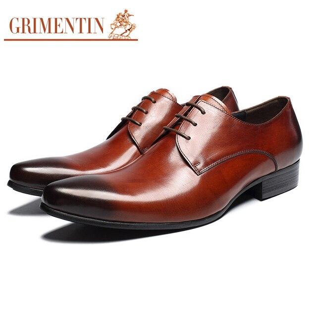 Классические мужские туфли натуральная кожа коричневый на шнуровке Italain мода формальные мужские свадебные туфли обувь