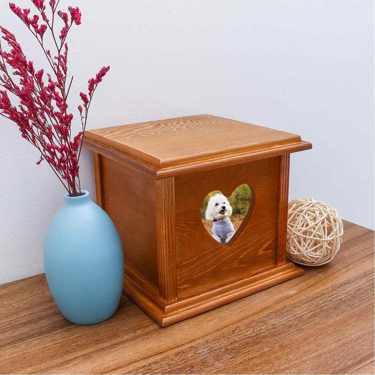 18.6x18.6x16.5cm Large Wood Urn Dog Cat Caskets House For Ashes Cremation Funeral Memorial Pet Urns Coffin Box Can Put Picture