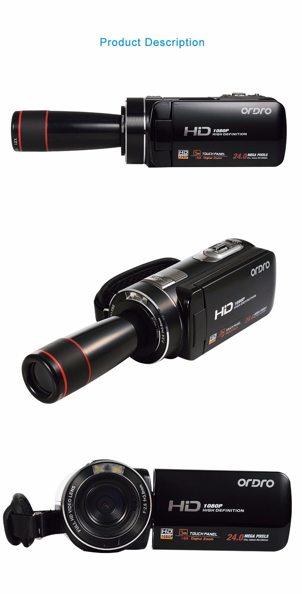 Ordro Camcorder HDV-Z18 Plus 1080P FHD Digital Video Camera Recording with 12X Teleconverter Remote Control HDMI Output 10