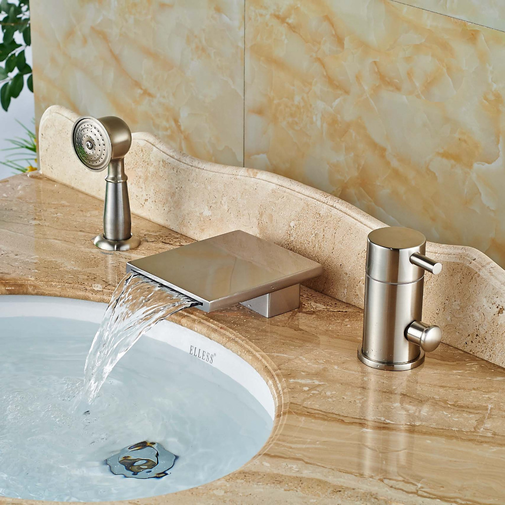 Square 3pcs Bath and Shower Set Faucets Waterfall Spout Bathtub Hot ...