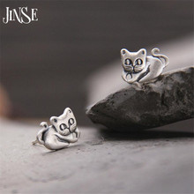 цена на JINSE Casual Delicate Tiny S925 Pure Silver Cute Cat Earrings For Women Girl Chic Stud Earrings 11.50mm