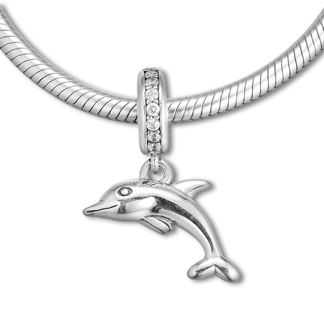bde14ee74 Fits Pandora Bracelets Dolphin silver Pendant with C.Z 100% Authentic 925  Sterling Silver Charms DIY