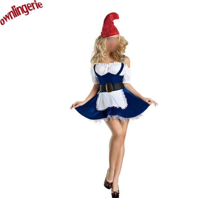 Envío Gratis mujeres de Halloween Cosplay disfraces para Mujer Azul Blanco  Duende de la Navidad 1691bfefb70e