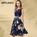 Vestlinda dress mulheres do vintage print floral elegante fashion dress verão o neck mangas a-line dress caixilhos vestidos vestido de verão