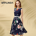 Vestlinda vintage dress mujeres manera de la impresión floral elegante dress summer o cuello sin mangas del a-line dress sashes vestidos de tirantes
