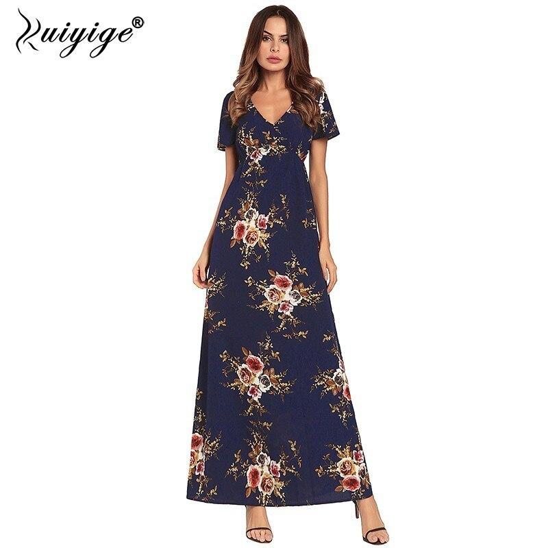 Ruiyige 2018 Women Chiffon Dress Floral Print Sexy V neck Boho Maxi Summer Party Dress Short Sleeve Elegant Long Bench Vestidos