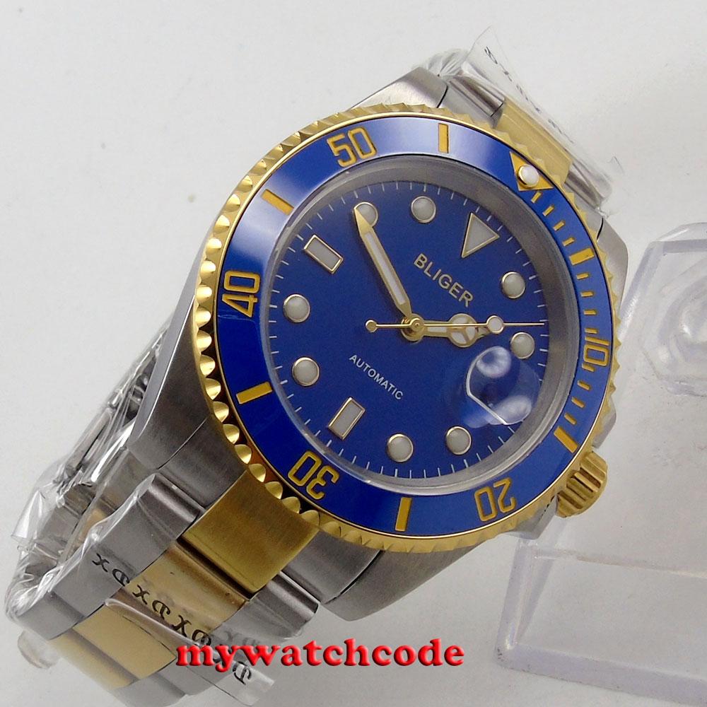 195784c8d26e 40mm bliger azul bisel de cerámica caja de oro fecha hombres reloj  automático B122