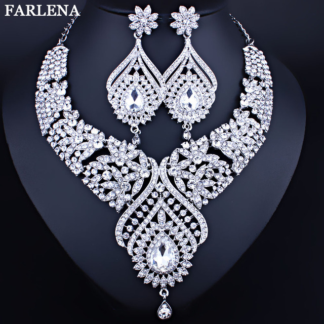 Wedding Jewelry Silver Plated Peacock Feather Shaped Necklace and Earrings  Set Fashion Crystal Rhinestones Bridal jewelry 04570540ff57
