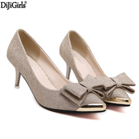 6cm Low High Heels Women Shoes Elegant Black Heels Fashion Office Shoes Women Bow Pointed Toe