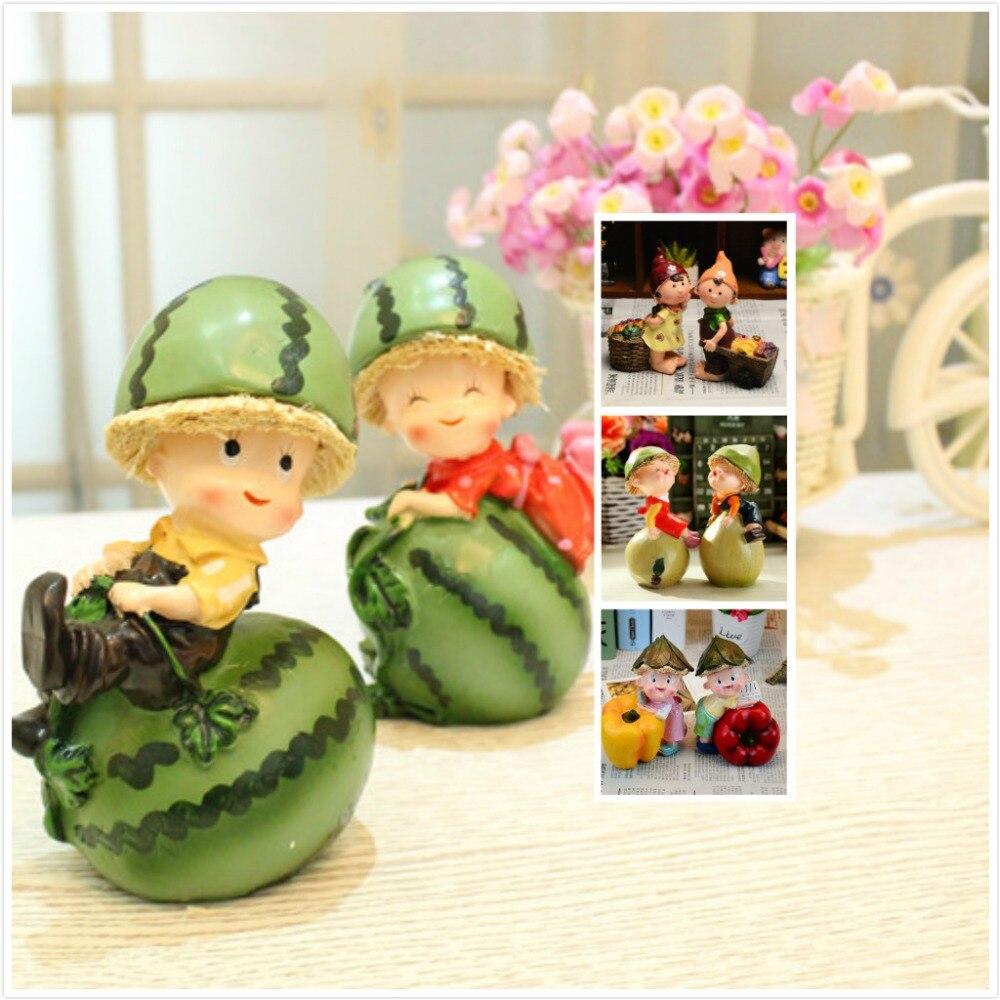 Save fruit doll - Resin Flowers Fairy Kawaii Watermelon Fruit Dolls Home Statue Decoration Figurines Christmas Present Ornaments Kids Toys
