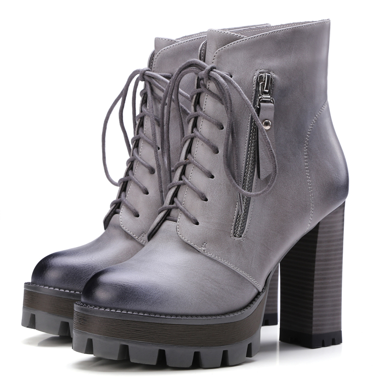 ФОТО European street style ankle boots fashion zipper lace up platform brown yellow black gray high-heeled women's riding boots