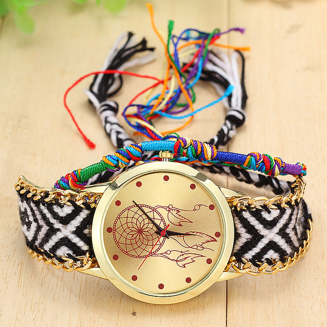 Handmade Braided Dreamcatcher Friendship Bracelet Watch Ladies Rope Watch Quarzt Watches Relogio Feminino  3