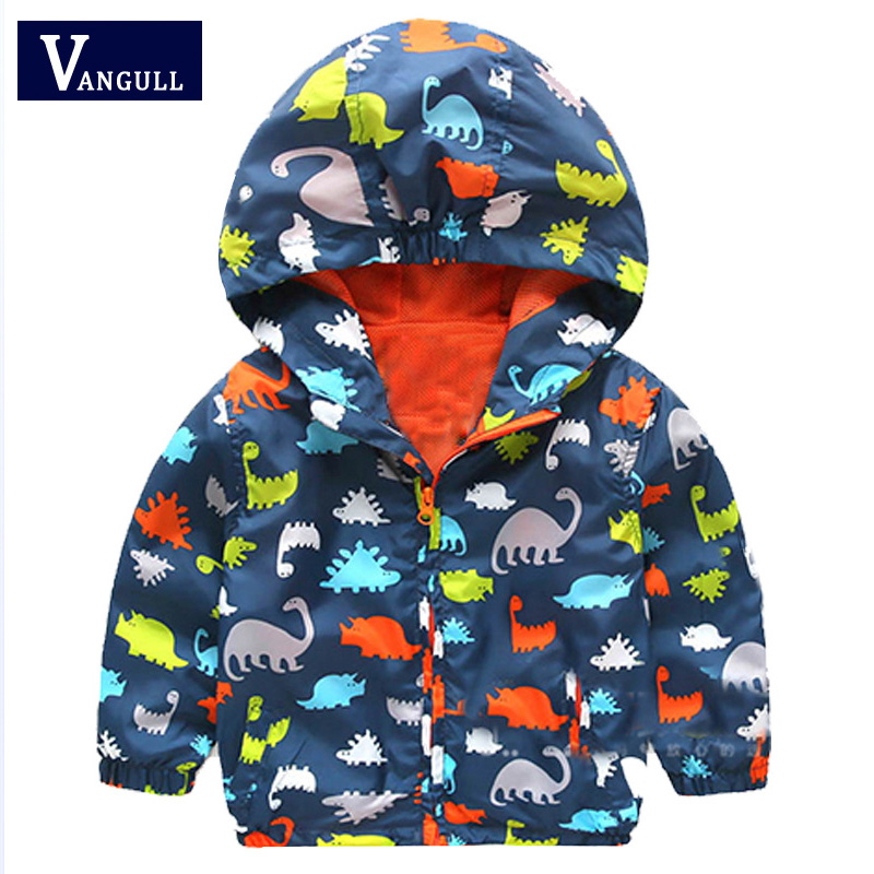 Детские куртки пальто для мальчиков украшенные рисунками маленьких динозавриков 2016 новые весенние худи для маленьких мальчиков и девочек