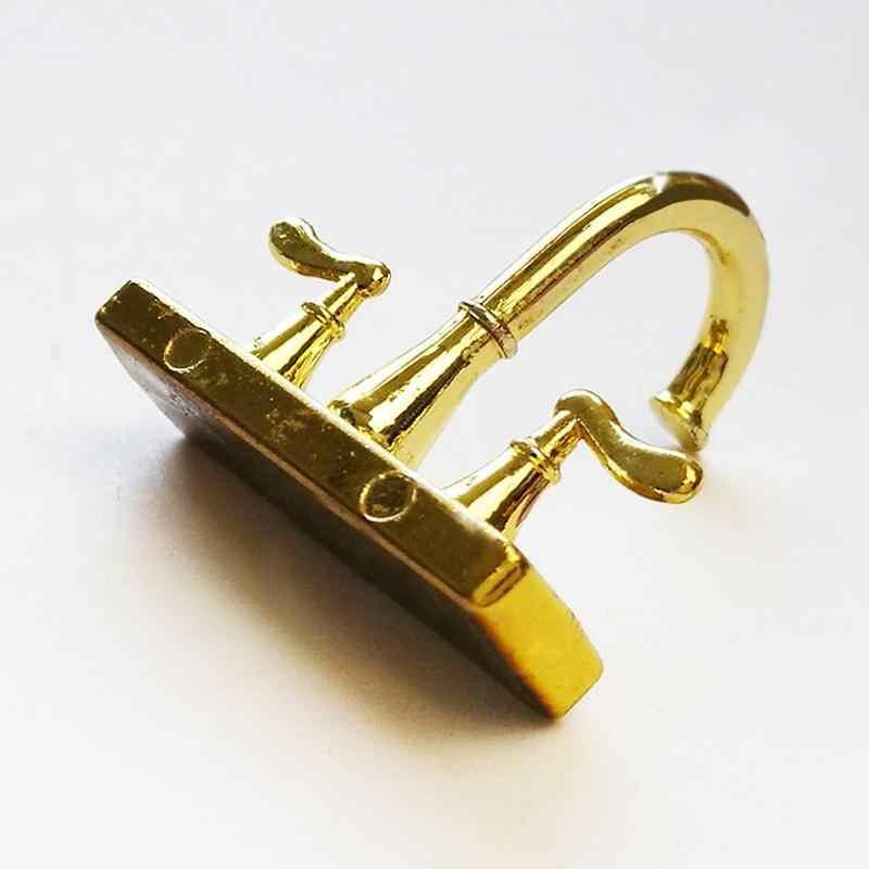 Mini acessórios para móveis de ouro duplo aberto torneira mobília da boneca acessórios do brinquedo 1:12 Casa de Boneca Acessórios
