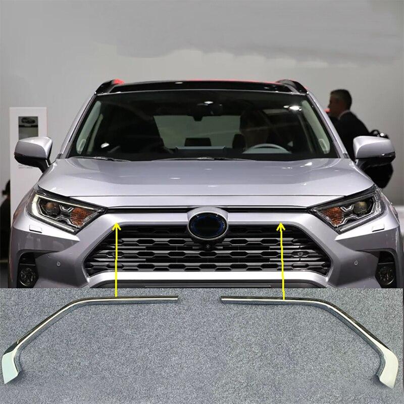 2 pièces ABS chromé voiture Grille calandre décorative couverture bandes de garniture pour Toyota RAV4 2019 2020 voiture style décalcomanies