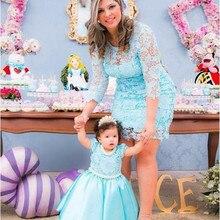 Новинка г.; платья для мамы и дочки; кружевные платья с круглым вырезом и молнией сзади для свадебной вечеринки; милые платья принцессы на день рождения