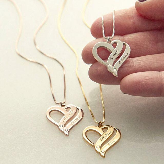 Personnalisé 925 argent nom collier personnalisé bijoux à la mode cadeau coeur forme pendentif collier anniversaire cadeau naissance pierres