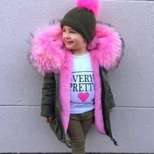 2018 Winter Boys Girls Donw Jackets Toddler Super Big Fur Parkas Zipper Children Pink Filled Feather Faux Fur Clothes DF773(China)