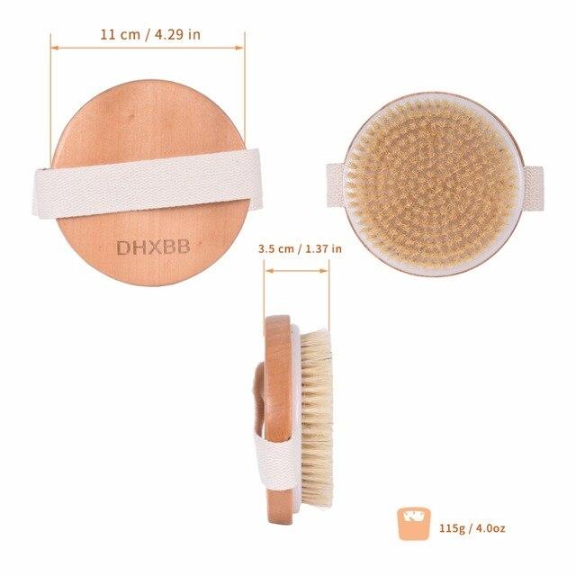 TREESMILE Natural bristles Bath brush Body Maasage No Handle Bath Brush Body Exfoliating SPA Hot Dry Skin Body Wooden Dry Brush 3