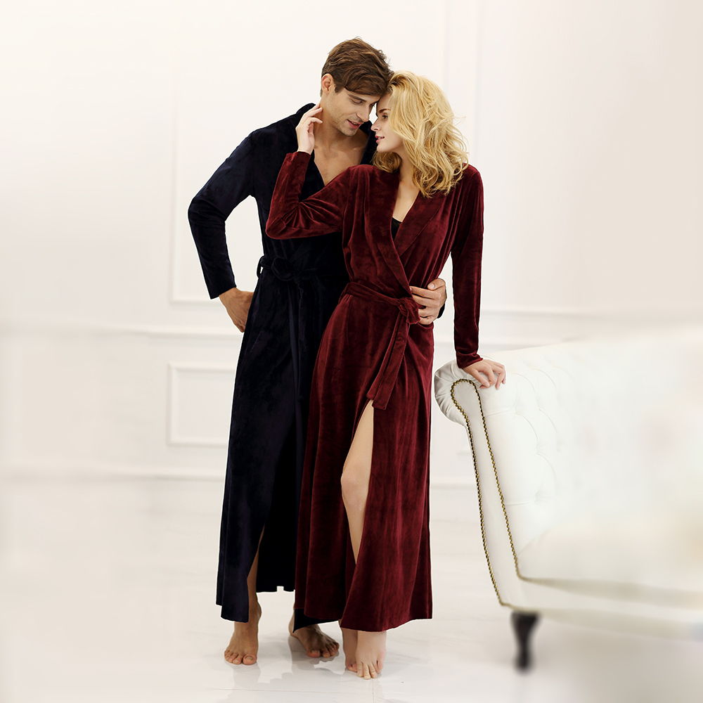 Long Bathrobe Home Wear clothes Nightgown Quality Super Soft Velvet Couple Full Length Bathrobe men and