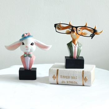 1pc Resin Animal Statue Rabbit Eyeglasses Stand Reindeer Design Sunglasses Holder Figurine Home Decor Ornament Craft