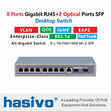8 port 10/100/1000M Gigabit Ethernet Switch Managed With 1000M Rj45 2 Port SFP Fiber
