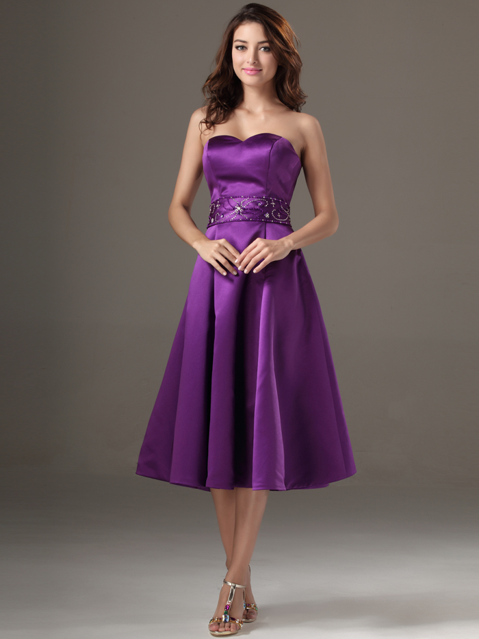 2016 Short Tea Length Beaded Satin Purple Strapless Bridesmaid ...