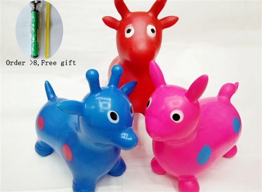 Bouncy Jumping Horse Kids Animal Toys Mixed Colors Painted Cartoon Inflatable Vault Children's Toy Factory Supply 30*16*27