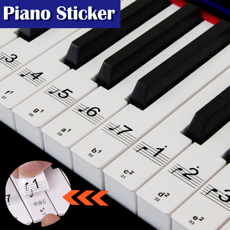 Hot! Transparent Piano Keyboard Sticker 49 61 76 88 Key Electronic Keyboard 88 Key Piano Stave Note Sticker For White Keys