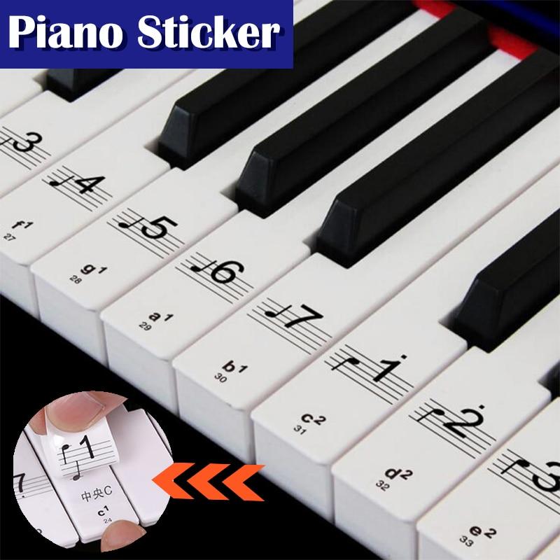 Hot! Transparent Piano Keyboard Sticker 49 61 76 88 Key Electronic Keyboard 88 Key Piano Stave Note Sticker for White Keys