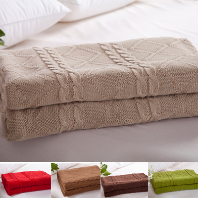 Knitted throw blanket 100 CottonSize180x200cm Full Size Beige