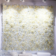 6pcs Artificial White Rose Hydrangea Peony Flower Wall Wedding Backdrop Lawn Pillar Row Road Lead Arch Decoration 40*60cm