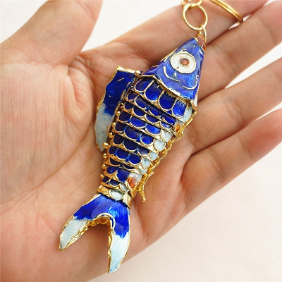 Кантри 7,5 качели кои рыбы брелки китайская перегородчатая эмаль карп аксессуары ремесла Эмаль Мода животных брелок этнический подарок - Цвет: Синий