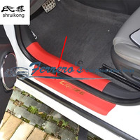 4pcs/lot car styling sticker PU leather door sill decorative cover for 2009 2010 2011 2012 2013 2014 Chevy Chevrolet Cruze