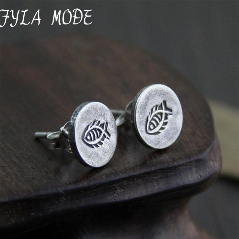 S925 стерлингов Серебряные ювелирные изделия Ретро тайский Серебряные серьги Для женщин мода персонализированные рыбка творческие серьги 9,20 мм 2 г WTS005