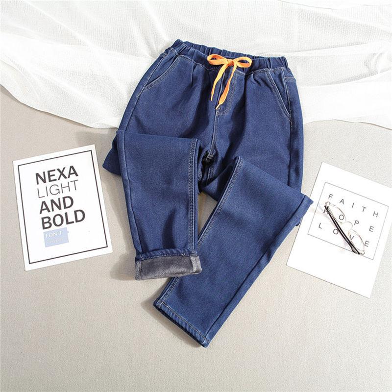 Plus Size 5XL Winter Plus Velvet Warm Jeans Woman Drawstring High Waist Jeans Denim Long Pants Vintage Women Harem Jeans C3866 1