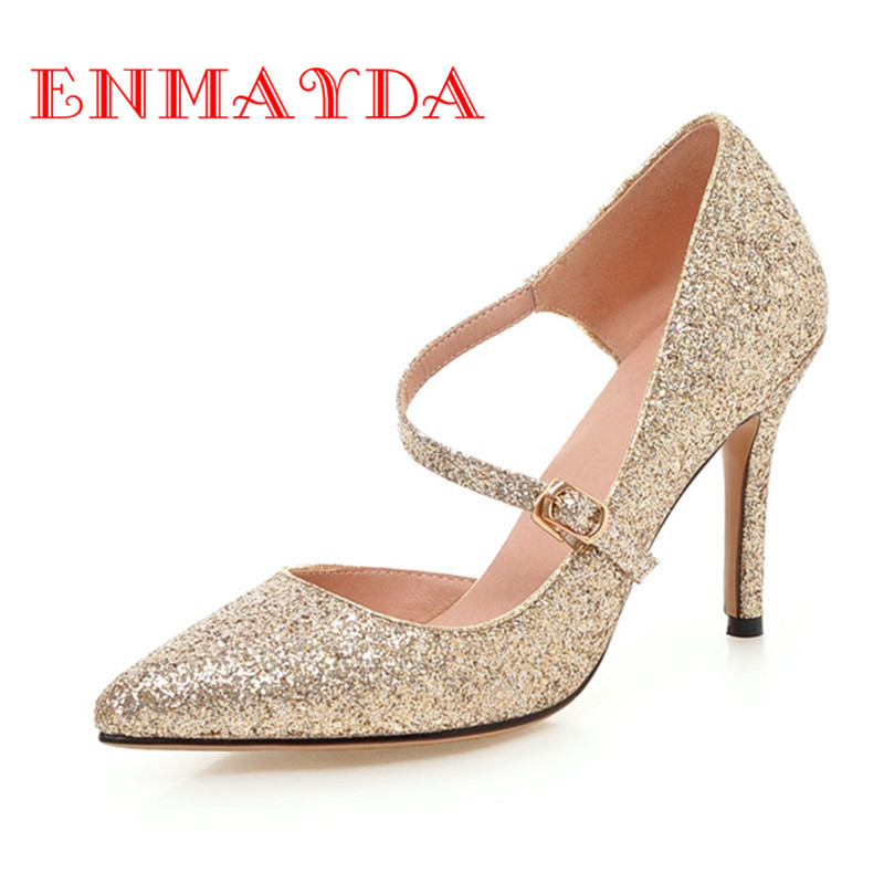 ФОТО ENMAYDA Spring&Summer Autumn Pumps High Heels Women Shoes Thin Heels Slip On Pointed Toe Mature Black Pink Gold Silver Pumps