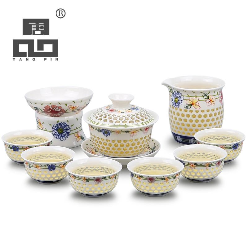 Taza de té gaiwan de tetera de cerámica azul y blanca TANGPIN para juego de té puer chino kung fu