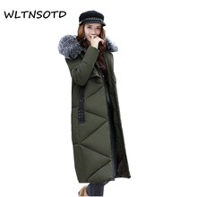 new arrival full 2017 women winter big fur collar slim thick cotton jacket female knee hooded warm parka coat Solid Long