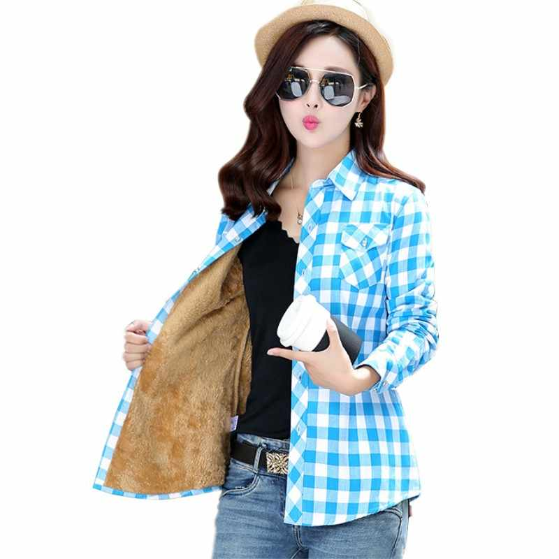 33869dc331c Для женщин Топы Blusa Camisa Femininas осень-зима теплый хлопок полный  толстый бархат женские блузки