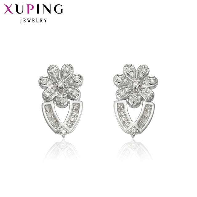 cd34b1d03 Xuping Jewelry Elegant Earring New Fashion Flower Shape Rhodium Plated Stud  Earrings For Wedding Best Gifts 91010